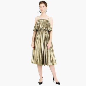 JCrew goma pleated lame midi metallic dress